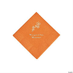 Pumpkin Spice Blossom Branch Personalized Napkins with Silver Foil - Beverage