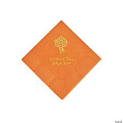 Pumpkin Spice Bouquet Personalized Napkins with Gold Foil - Beverage