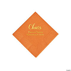 Pumpkin Spice Cheers Personalized Napkins with Gold Foil - Beverage