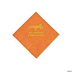 Pumpkin Spice Congrats Personalized Napkins with Gold Foil - Beverage