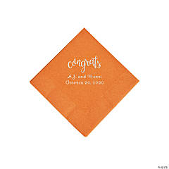 Pumpkin Spice Congrats Personalized Napkins with Silver Foil - Beverage