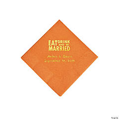 Pumpkin Spice Eat Drink & Be Married Personalized Napkins with Gold Foil - Beverage
