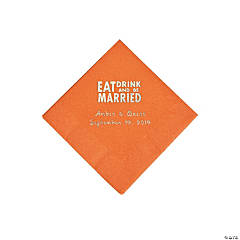 Pumpkin Spice Eat Drink & Be Married Personalized Napkins with Silver Foil - Beverage