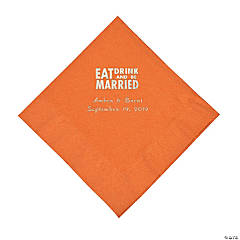 Pumpkin Spice Eat Drink & Be Married Personalized Napkins with Silver Foil - Luncheon