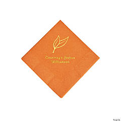 Pumpkin Spice Heart Leaf Personalized Napkins with Gold Foil - Beverage