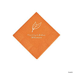Pumpkin Spice Heart Leaf Personalized Napkins with Silver Foil - Beverage
