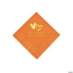 Pumpkin Spice Hearts Personalized Napkins with Gold Foil - Beverage