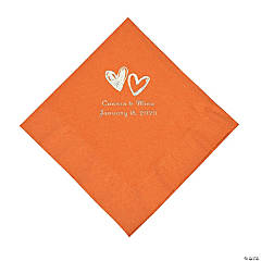 Pumpkin Spice Hearts Personalized Napkins with Silver Foil - Luncheon