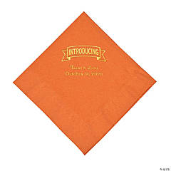 Pumpkin Spice Introducing Personalized Napkins with Gold Foil - Luncheon