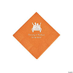 Pumpkin Spice Just Married Car Personalized Napkins with Silver Foil - Beverage