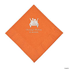 Pumpkin Spice Just Married Car Personalized Napkins with Silver Foil - Luncheon