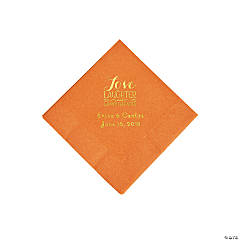 Pumpkin Spice Love Laughter & Happily Ever After Personalized Napkins with Gold Foil - Beverage
