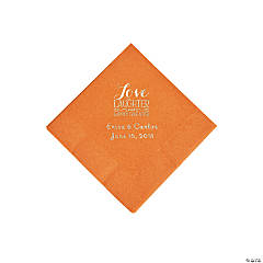 Pumpkin Spice Love Laughter & Happily Ever After Personalized Napkins with Silver Foil - Beverage