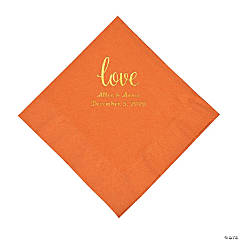 Pumpkin Spice Love Script Personalized Napkins with Gold Foil - Luncheon