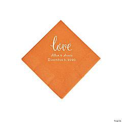 Pumpkin Spice Love Script Personalized Napkins with Silver Foil - Beverage