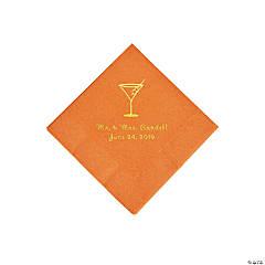 Pumpkin Spice Martini Glass Personalized Napkins with Gold Foil - Beverage