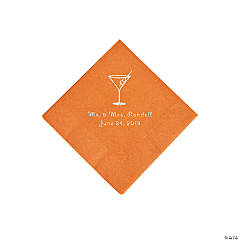 Pumpkin Spice Martini Glass Personalized Napkins with Silver Foil - Beverage