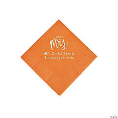 Pumpkin Spice Miss to Mrs. Personalized Napkins with Silver Foil - Beverage