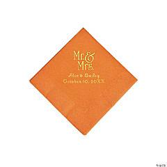 Pumpkin Spice Mr. & Mrs. Personalized Napkins with Gold Foil - Beverage