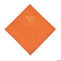 Pumpkin Spice Mr. & Mrs. Personalized Napkins with Gold Foil - Luncheon