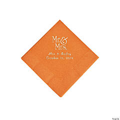Pumpkin Spice Mr. & Mrs. Personalized Napkins with Silver Foil - Beverage
