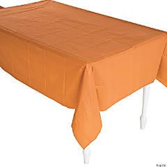 Pumpkin Spice Orange Plastic Tablecloth