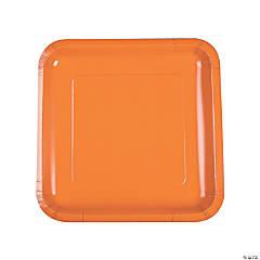 Pumpkin Spice Orange Square Dinner Paper Plates