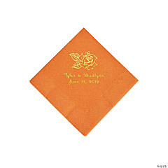 Pumpkin Spice Rose Personalized Napkins with Gold Foil - Beverage