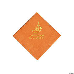 Pumpkin Spice Sailboat Personalized Napkins with Gold Foil - Beverage