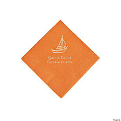 Pumpkin Spice Sailboat Personalized Napkins with Silver Foil - Beverage