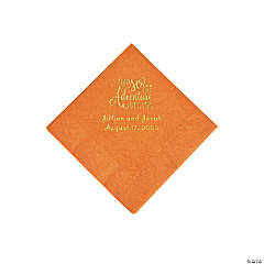 Pumpkin Spice The Adventure Begins Personalized Napkins with Gold Foil - Beverage