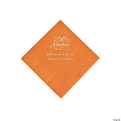 Pumpkin Spice The Adventure Begins Personalized Napkins with Silver Foil - Beverage