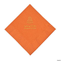 Pumpkin Spice Wedding Cake Personalized Napkins with Gold Foil - Luncheon