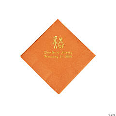 Pumpkin Spice Wedding Couple Peersonalized Napkins with Gold Foil - Beverage