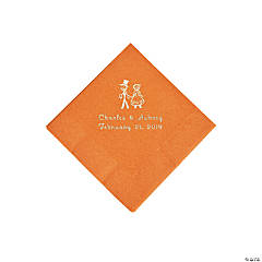 Pumpkin Spice Wedding Couple Personalized Napkins with Silver Foil - Beverage