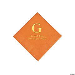 Pumpkin Spice Wedding Monogram Personalized Napkins with Gold Foil - Beverage