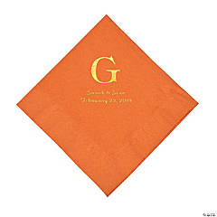 Pumpkin Spice Wedding Monogram Personalized Napkins with Gold Foil - Luncheon