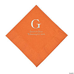 Pumpkin Spice Wedding Monogram Personalized Napkins with Silver Foil - Luncheon