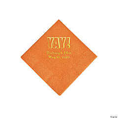 Pumpkin Spice Yay Personalized Napkins with Gold Foil - Beverage