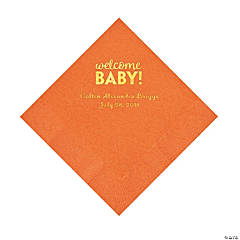 Pumpkin Welcome Baby Personalized Napkins with Gold Foil – Luncheon