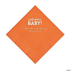 Pumpkin Welcome Baby Personalized Napkins with Silver Foil – Luncheon