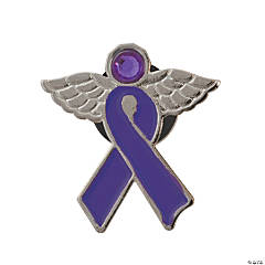 Purple Awareness Ribbon Angel Pins