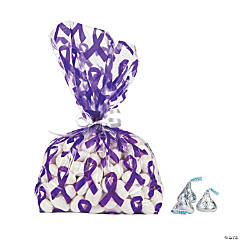 Purple Awareness Ribbon Cellophane Bags