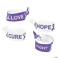 Purple Awareness Ribbon Elastic Bracelets & Hair Ties