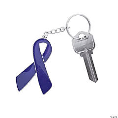 Purple Awareness Ribbon Enamel Keychains