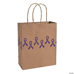 Purple Awareness Ribbon Kraft Paper Bags