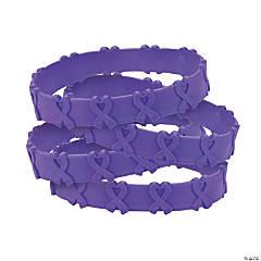Purple Awareness Ribbon Pop-Out Rubber Bracelets