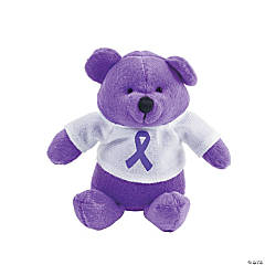 Purple Awareness Ribbon Stuffed Bears
