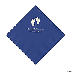 Purple Baby Feet Personalized Napkins with Silver Foil - Luncheon
