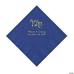 Purple Best Day Ever Personalized Napkins with Gold Foil - Luncheon